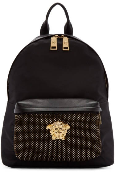 Versace - Black Studded Medusa Backpack