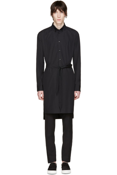 Versace - Black Long Belted Shirt