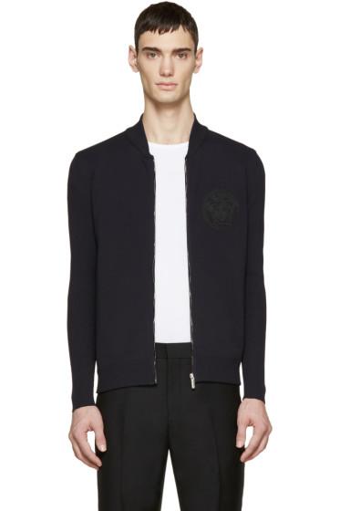 Versace - Navy Medusa Zip-Up Sweater