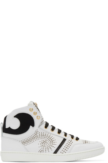 Versace - White & Black Perforated High-Top Sneakers