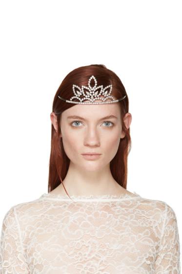 Saint Laurent - Silver Crystal Diadème 4 Tiara