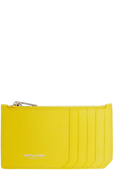 Saint Laurent - Yellow Leather Zippered Fragments Cardholder