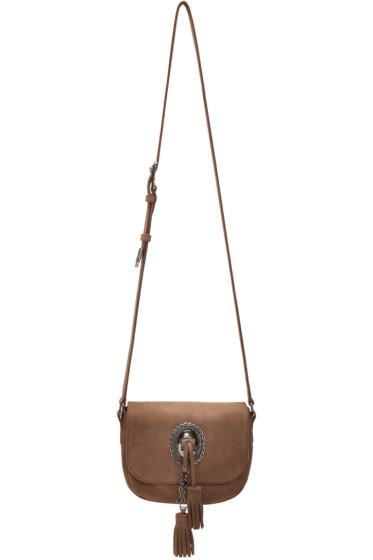 Saint Laurent - Brown Suede Kim Shoulder Bag