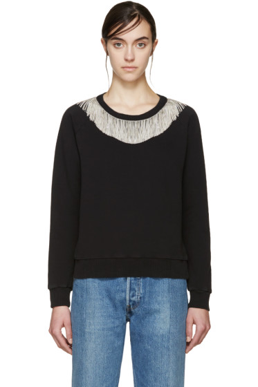 Saint Laurent - Black & Silver Fringed Pullover