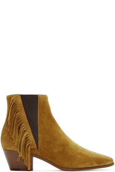 Saint Laurent - Tan Suede Fringed Wyatt Boots