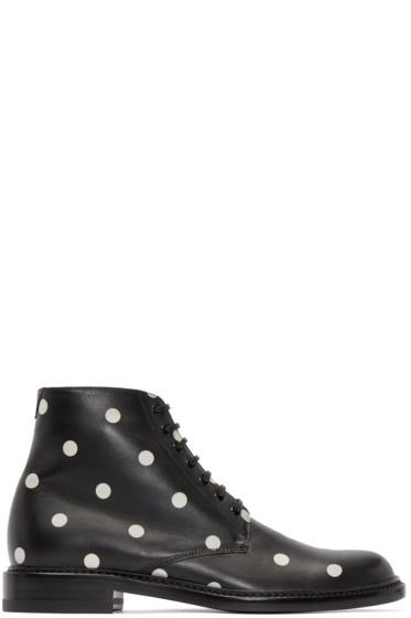 Saint Laurent - Black & White Polka Dot Lolita Boots
