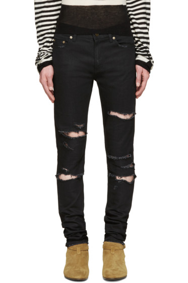 Saint Laurent - Black Skinny Destroyed Jeans