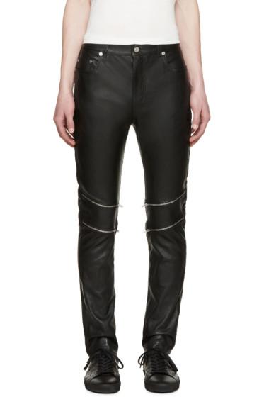 Saint Laurent - Black Leather Zippered Pants
