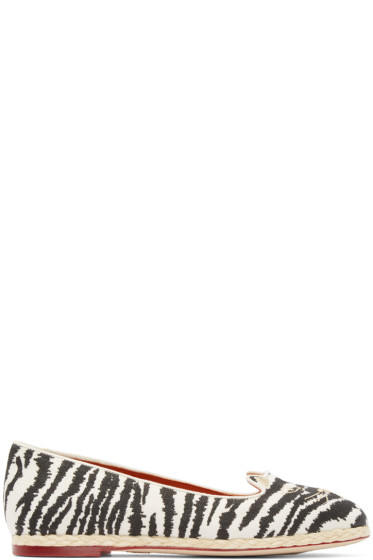 Charlotte Olympia - Black & White Capri Cats Flats