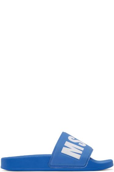 MSGM - Blue Logo Slide Sandals