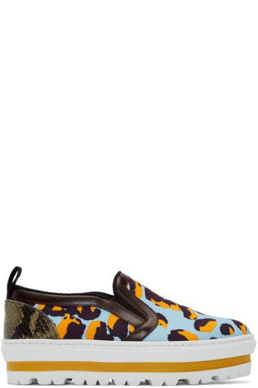 MSGM - Multicolor Leopard Platform Slip-On Sneakers