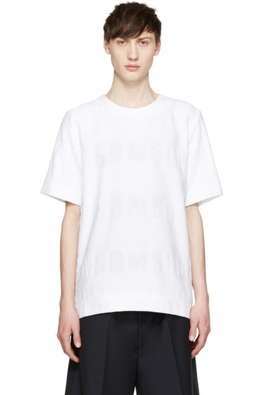 MSGM - White Logo Terrycloth Pullover
