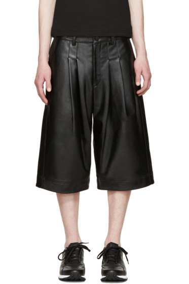 KTZ - Black Faux-Leather Pleated Shorts