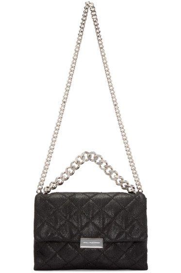 Stella McCartney - Black Medium Falabella Shaggy Deer Beckett Bag