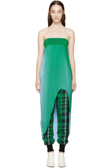 Stella McCartney - Green & Blue Pleated Top
