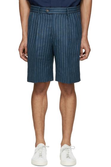 Umit Benan - Blue Linen Pinstripe Shorts