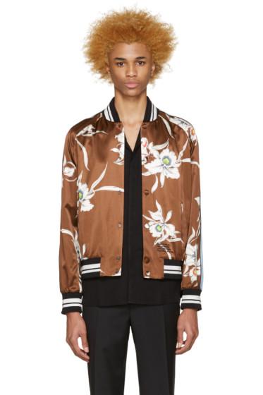 Valentino - Brown Satin Bomber Jacket