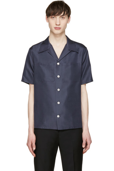 Valentino - Navy Silk Shirt