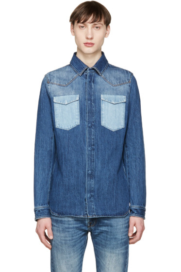 Valentino - Indigo Denim Pocket Shirt