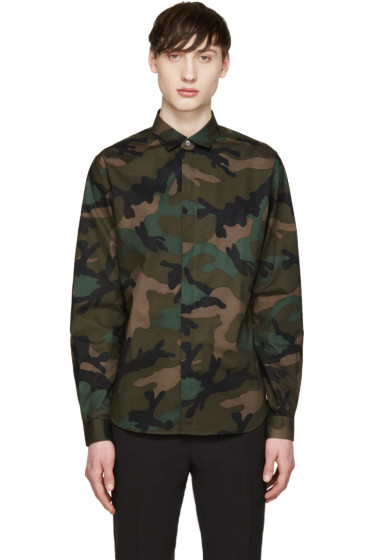 Valentino - Green & Black Camouflage Shirt