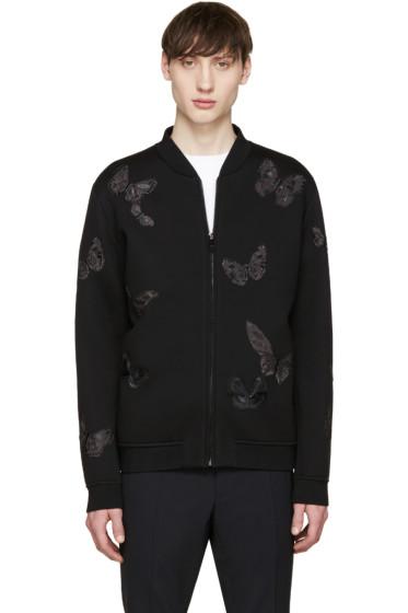 Valentino - Black Neoprene Butterfly Bomber Jacket