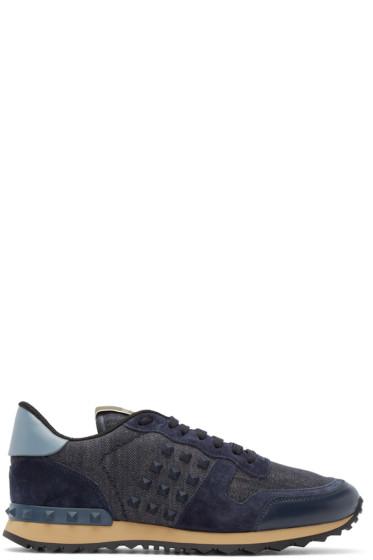 Valentino - Indigo Denim Rockstud Sneakers
