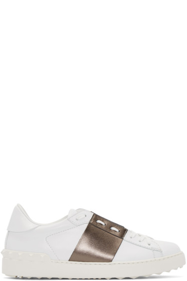 Valentino - White & Gunmetal Open Sneakers