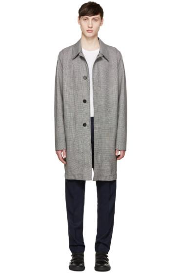 AMI Alexandre Mattiussi - Black & White Houndstooth Mac Coat