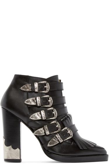 Toga Pulla - Black Western Buckle Heeled Boots