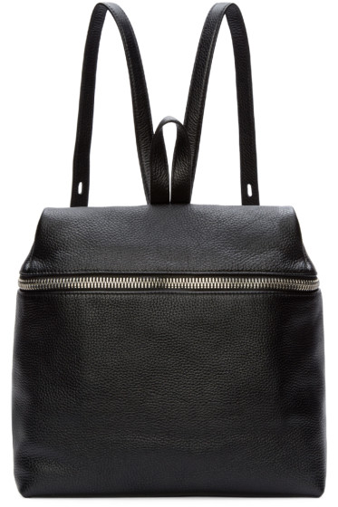 Kara - Black Pebbled Leather Backpack