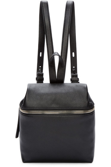 Kara - Black Pebbled Leather Small Backpack