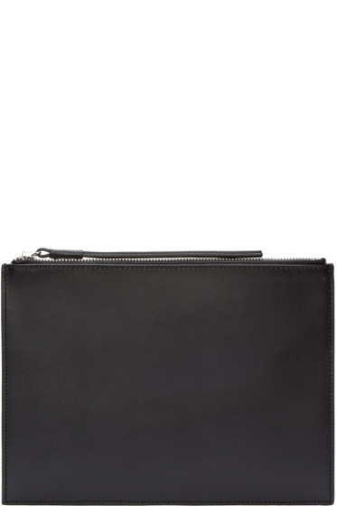 Kara - Black Leather Flat Pouch