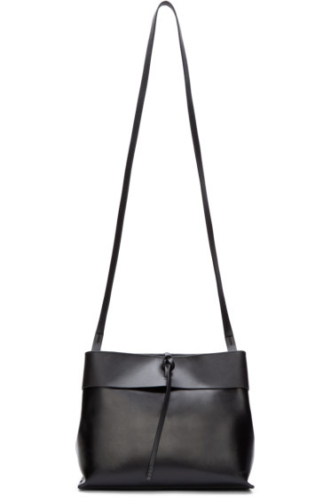 Kara - Black Leather Tie-Close Bag