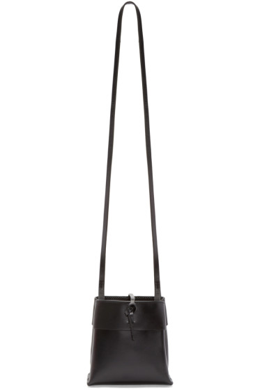 Kara - Black Leather Nano Tie Crossbody Bag