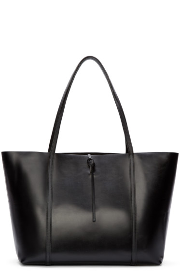 Kara - Black Polished Leather Tie Tote