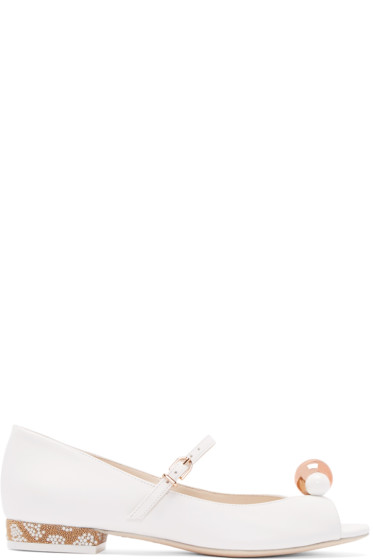 Sophia Webster - White Leather Loren MJ Flats