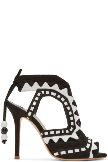 Sophia Webster - Black & White Suede Riko Sandals