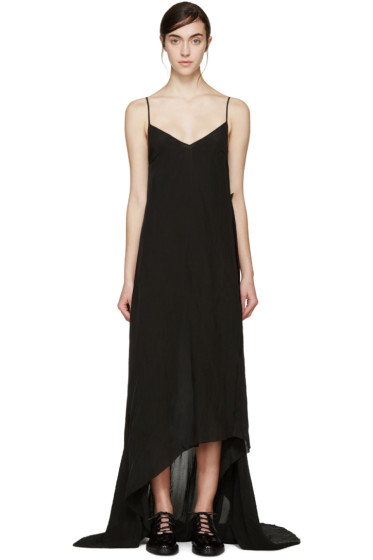Yang Li - Black Asymmetric Slip Dress