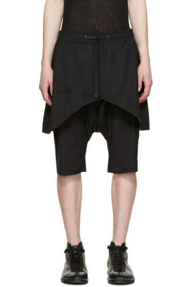 D.Gnak by Kang.D - Black Layered Traditional Line Shorts