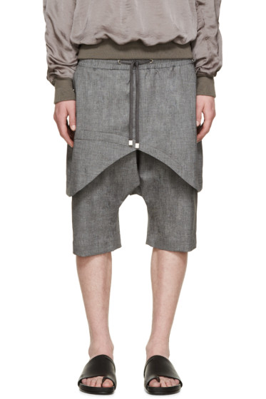 D.Gnak by Kang.D - Grey Layered Traditional Line Shorts