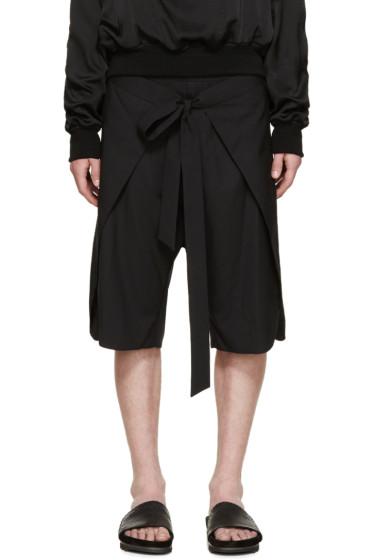 D.Gnak by Kang.D - Black Wrap Open Shorts