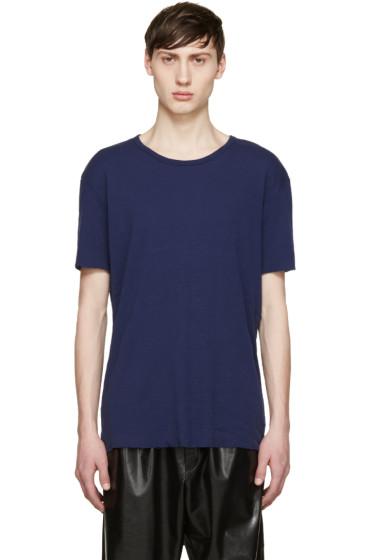 Haider Ackermann - Navy Silk T-Shirt