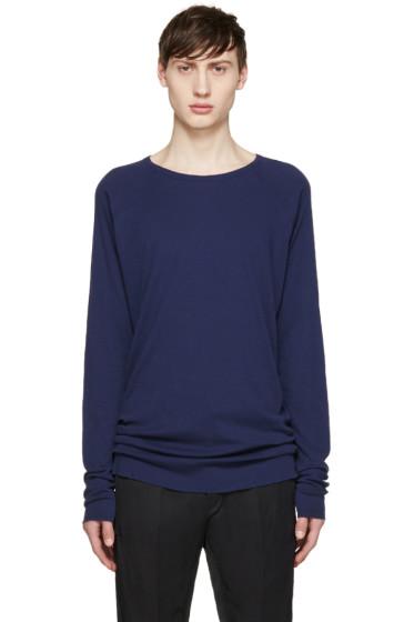 Haider Ackermann - Navy Silk Long Sleeve T-Shirt