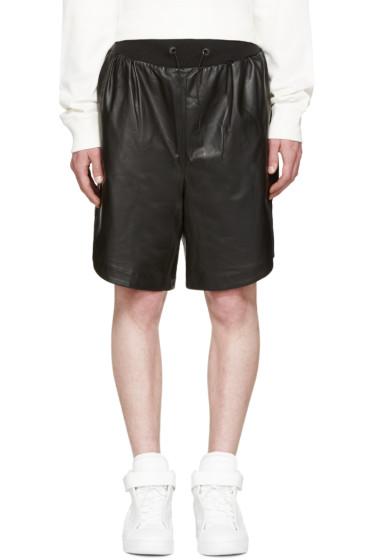 Giuliano Fujiwara - Black Leather Basket Shorts