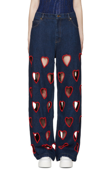 Ashish - Indigo Cut-Out Heart Jeans