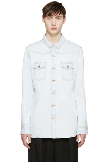 Off-White - Blue Denim Bleach Shirt