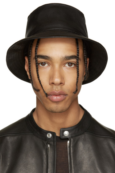 11 by Boris Bidjan Saberi - Black Leather Bucket Hat