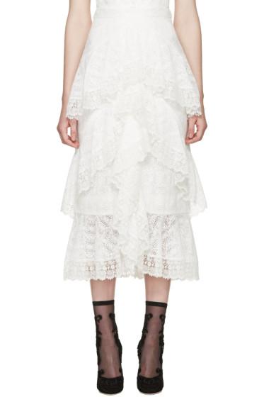 Erdem - Ecru Crochet Lace Simone Skirt