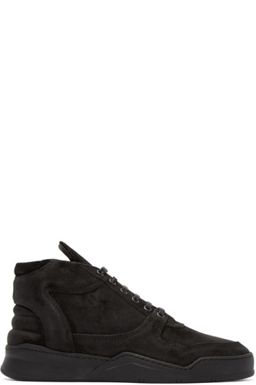 Filling Pieces - Black Mid-Top Sneakers