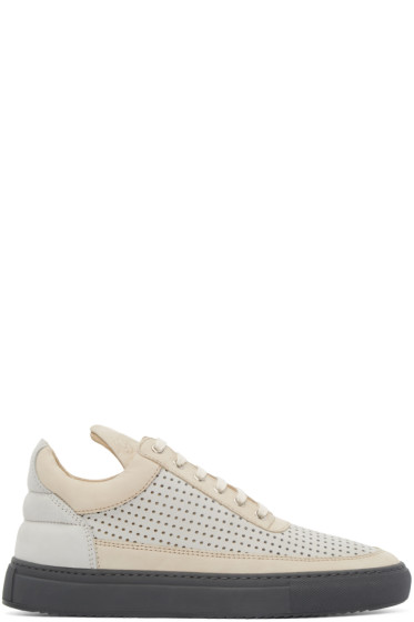 Filling Pieces - Beige & Grey Perforated Sneakers